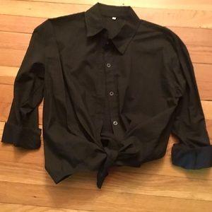 Tops - Black cotton button down shirt